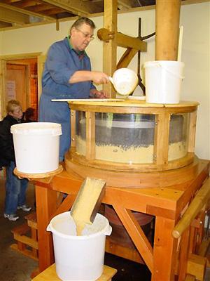 De Verwachting, Hollum (Ameland), Demonstratie van het malen van mosterd.  Foto: Harmannus Noot (22-10-2005).
