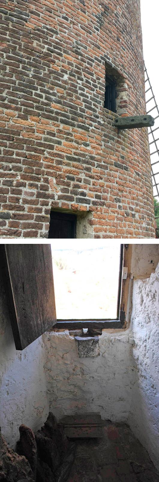 Grafelijke Korenmolen, Zeddam, Het plasgootje voor de molenaar, met opstapje.  Foto boven: Sven Vesters (12-7-2015)Foto onder: Gerrit ten Brinke (7-4-2013)