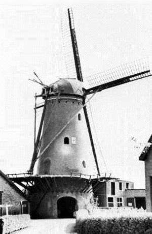De Oude Molen, Oudemolen (Fijnaart), De molen vóór de onttakeling van 1967. Het wiekenkruis ziet er nog redelijk uit; de stelling is al erg slecht (fotograaf n.b.).