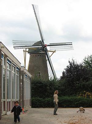Aalstermolen, Aalst, Vlak naast de molen bevindt zich een school met speelplaats.  Foto: Ruud Barnasconi (2-10-2006).