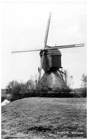 Zandwijkse Molen, Almkerk, Foto uit 1963.  Foto: ? (verzameling Ton Meesters).