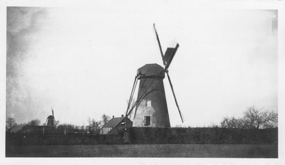 Nooit Gedagt, Budel, De Nooit Gedagt omstreeks 1935, in zijn gedaante van beltmolen met De Zeldenrust op de achtergrond, malend bij een bulderende wind.  Foto: ? (verzameling Ton Meesters).