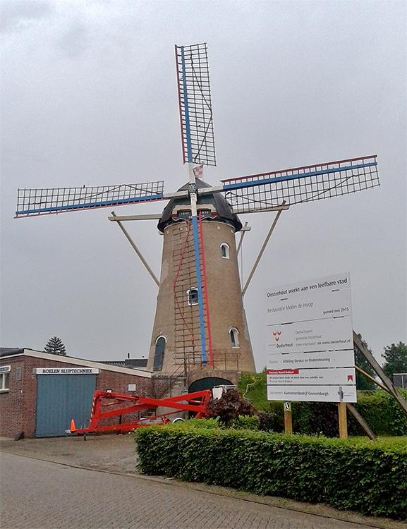 De Hoop, Den Hout, Foto: Tony Hop (05-06-2015)De Hoop in de eindfase van een uitgebreide restauratie. Op dit moment wordt de molen geheel geschilderd.
