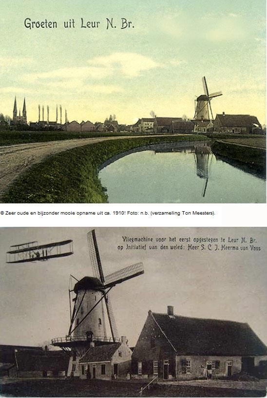 De Lelie, Leur, De allereerste vlucht in Nederland vond inderdaad in Leur plaats, maar deze foto zou een montage kunnen zijn.  Ingezonden door Jelle van Daalen (21-9-2009).