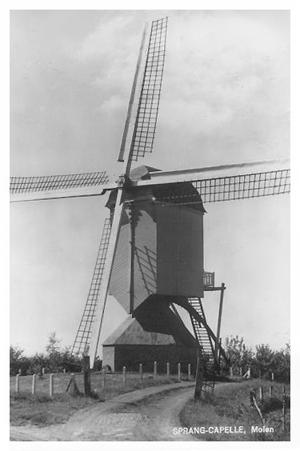 Dye Sprancke, Sprang, De molen in de tijd dat hij nog verbusseld was.  Foto: ? (verzameling Rob Pols).