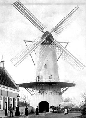 De Arend, Terheijden, Een wel heel bijzondere opname van De Arend met zelfzwichting op beide roeden, omstreeks 1900.  Foto: ? (verzameling Willem van Breenen).