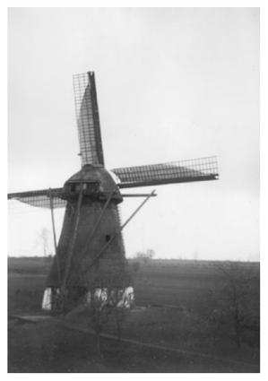 Vervoornemolen, Werkendam, De Vervoorne Molen malend met witte zeilen omstreeks 1935.  Foto: vermoedelijk Chr. van Bussel (verzameling Ton Meesters).