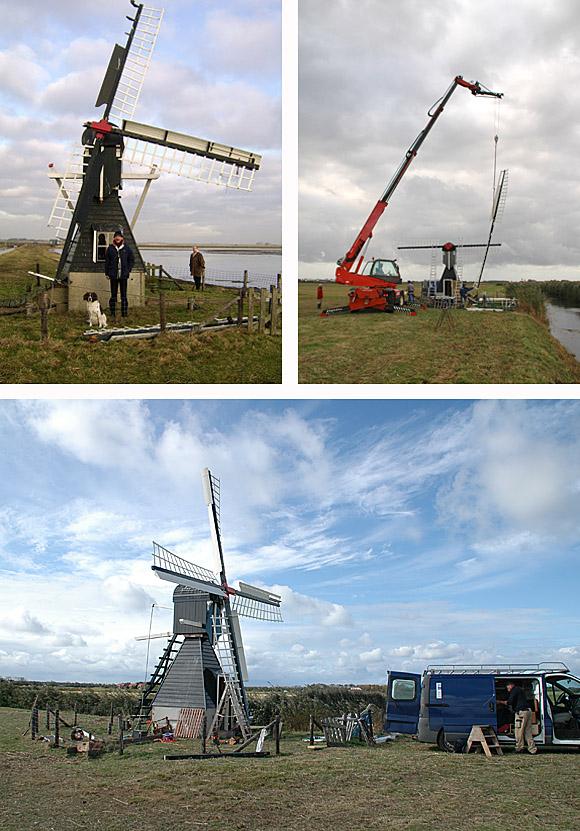 De Kemphaan, De Waal (Texel), Het molentje heeft flinke schade opgelopen door een najaarsstorm. Foto: L Kikkert (2-10-2009) En het herstel is nu in volle gang en op de onderste foto wordt de laatste hand aan de voltooiing gelegd.  Foto: H. Lollinga (8-1-2009).