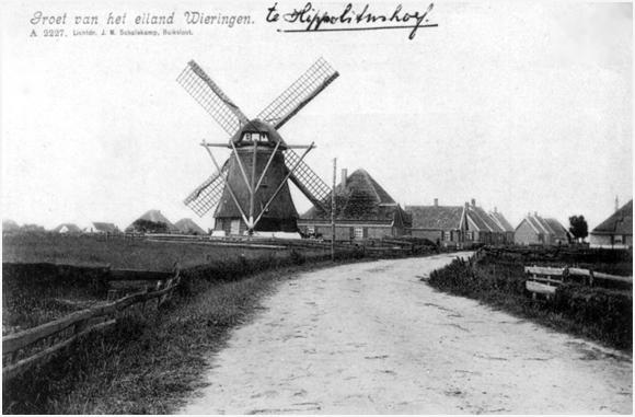 De Onderneming, Hippolytushoef, Zo vrij staat de molen al lang niet meer....  Prachtige opname uit de verzameling van Ton Meesters (foto: ?).