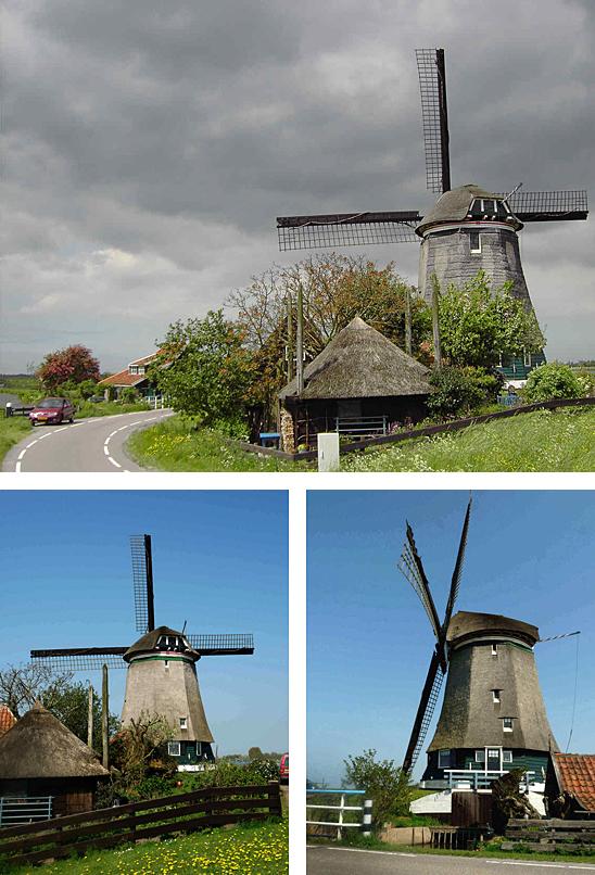 Nekkermolen, Neck, Bovenste foto: Gerard Roomer (22-5-2005).  Onderste foto's: Gerard Roomer (24-4-2009).
