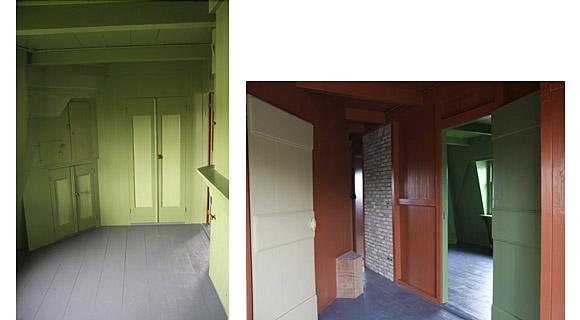 Strijkmolen E (Zes Wielen), Oudorp, Links: Woonkamer met bedstee, rechts: Achterhos met gang.  Foto