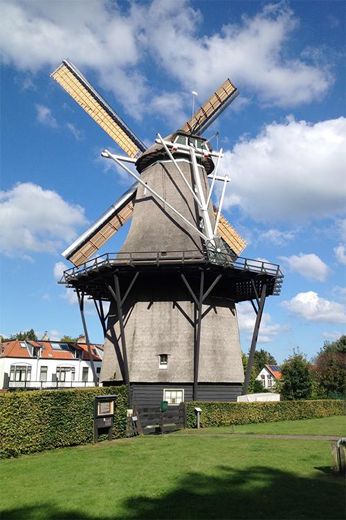 De Zandhaas, Santpoort, Foto: Abel van Loenen (15-8-2016) Roeden weer gestoken, de molen draait weer..