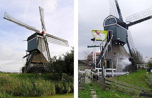 Oukoper Molen, Nieuwersluis, Foto links: Willem Jans (8-10-2006).  Foto rechts: Piet Schiereck (3-1-2009).