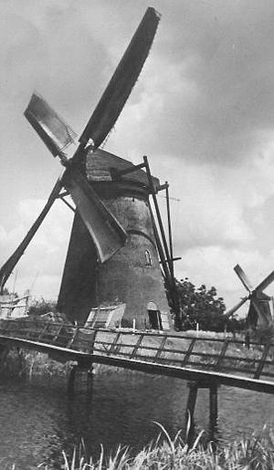 Nederwaard Molen No.5, Kinderdijk, Molen Nr. 5 malend uit het west-zuidwesten, waarschijnlijk in juni 1943.  Foto: ? (verzameling Rob Pols). Met speciale dank aan Arie Hoek voor de informatie!