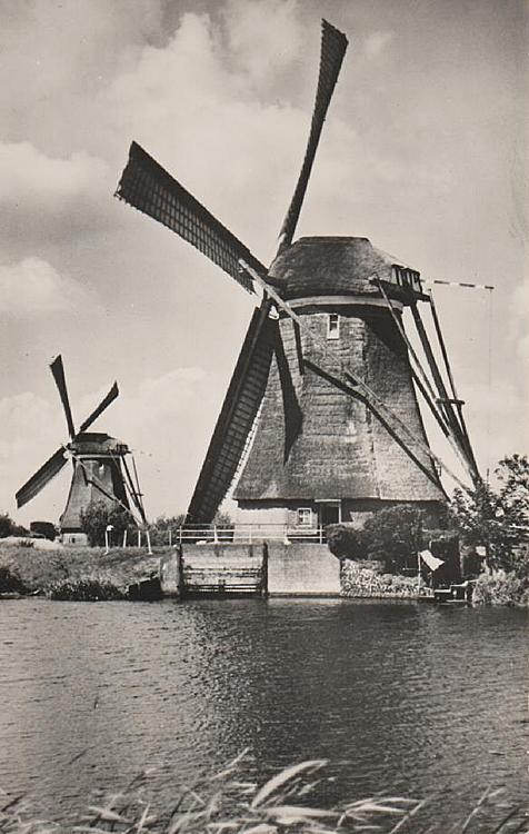 Overwaard Molen No.4, Kinderdijk, Vermoedelijk juni 1943. Op de achtergrond Overwaard no. 3. (ingezonden door Arie Hoek).