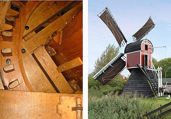 Kikkermolen, Leiden, Foto's: Rob Pols (links 13-5-2006, rechts 21-9-2009).