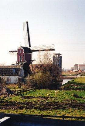 Lagenwaardse molen, Koudekerk a/d Rijn, De Bosmolen nog op zijn oude locatie. De omgeving is dan al sterk aan het veranderen.  Foto: Leo Middelkoop (29-3-2002).