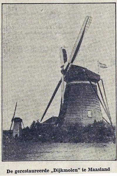 Dijkmolen, Maasland, Foto uit onbekende krant, datum ?  Ingezonden door Jan Hoek.