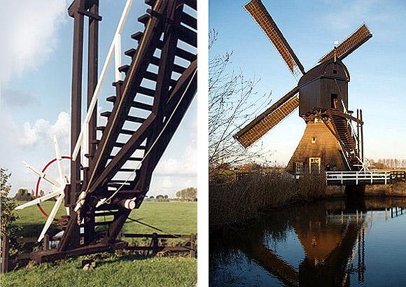 Stijve Molen, Meerkerk / Den Dool, Foto rechts: Mark Dwarswaard (28-12-2005). - Foto links: Nelly Sonneveld-Riper (januari 2002).