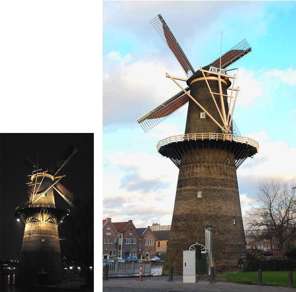 De Noord, Schiedam, Foto's: Rob Pols (links 12-12-2004, rechts 13-12-2010)
