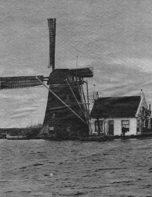 De Korpershoek, Schipluiden, De verbrande voorganger van de huidige molen.  Foto: ingezonden door Arie Hoek.