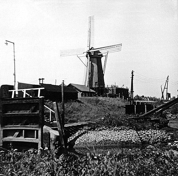Nooit Gedacht, Spijkenisse, De sluis op de voorgrond is een paar jaar later verdwenen. Foto: W. de Jonge (juni 1963)