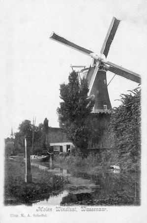 Windlust, Wassenaar, Een malende Windlust in vroeger tijden.  Foto: n.b. (verzameling Rob Pols).