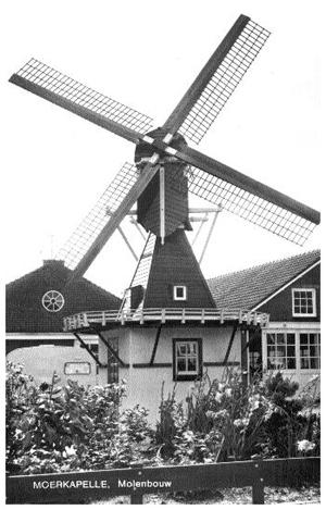 Hertogmolen, Moerkapelle, Ansichtkaart uit onbekend jaartal  Foto: ? (verzameling Rob Pols).