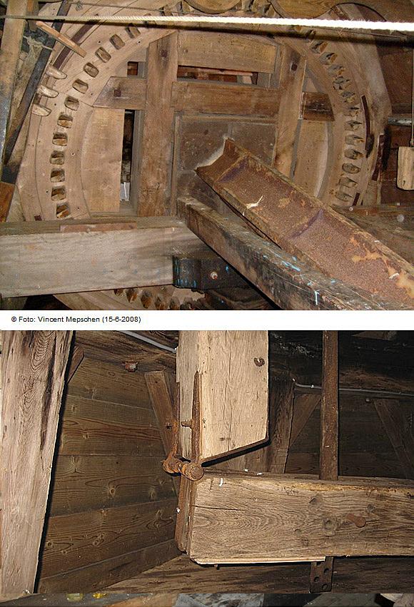 De Dellen, Nieuw-Scheemda, H.P. Tiddens (8-4-2009)De opmerkelijke scharnierconstructie tussen voorezel en vangbalk. | Database Nederlandse molens